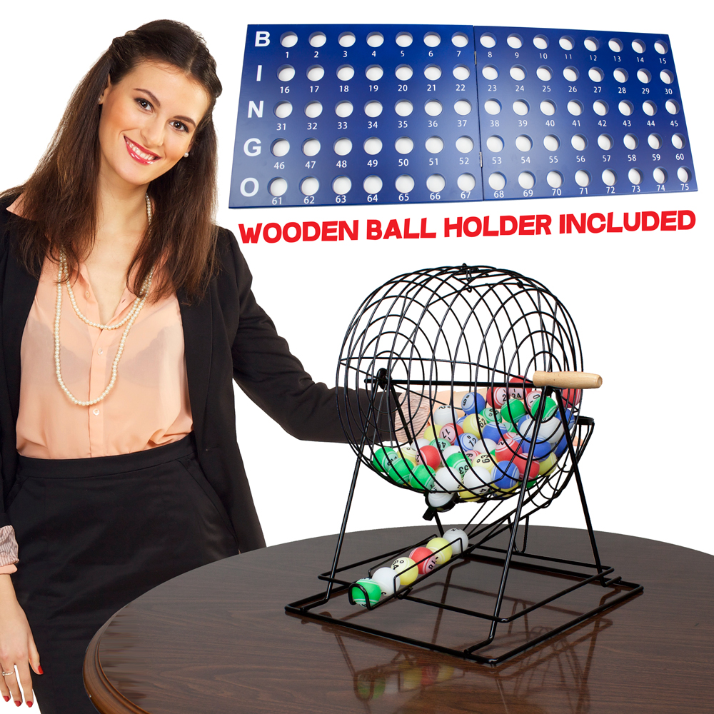 "Professional Bingo Set w/ 19"" Cage, 1.5"" Balls, & Wood Board"