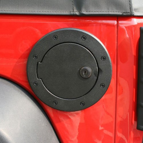 Locking Gas Cap Door, Black Aluminum; 07-16 Jeep Wrangler JK