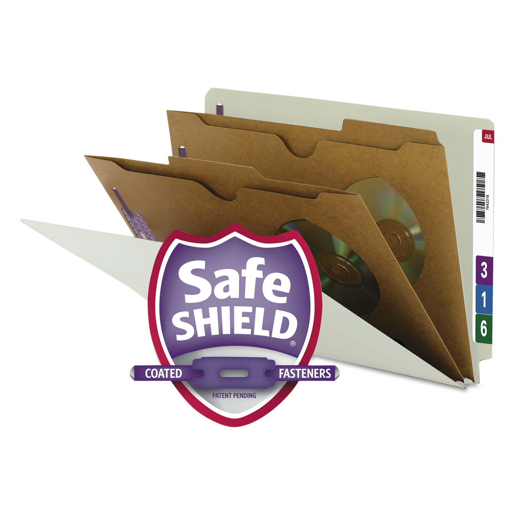 Pressboard End Tab Classification Folder, Pockets, Legal, Six-Section, 10/Box