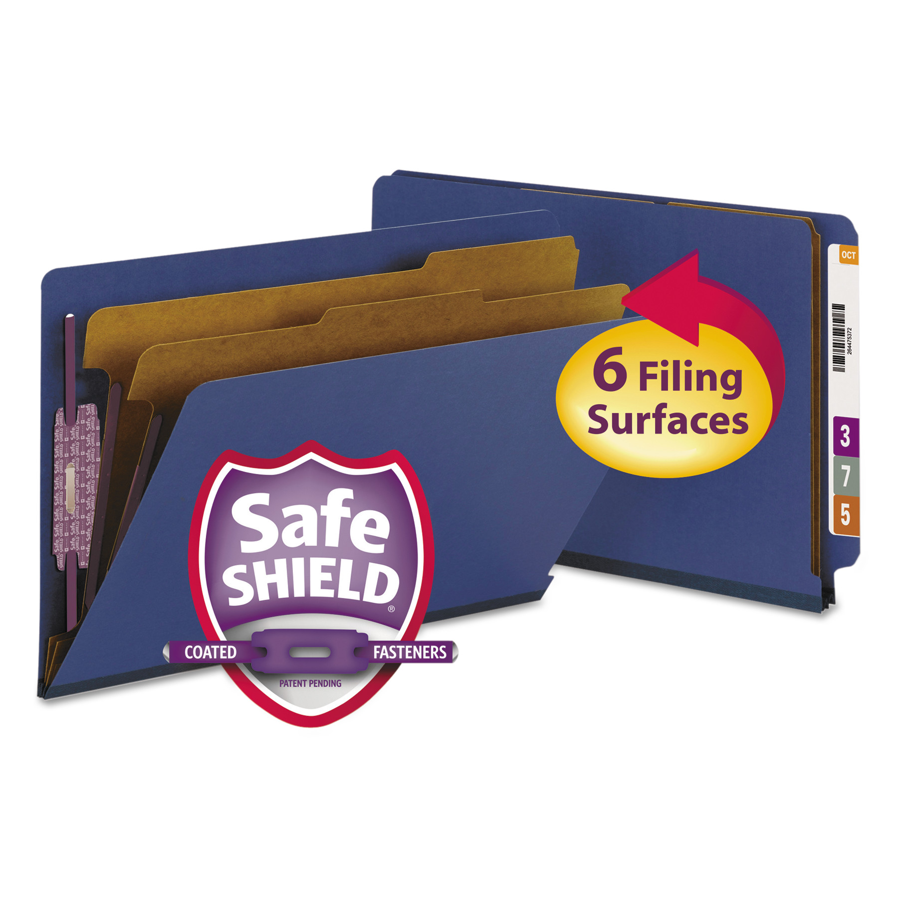 Pressboard End Tab Classification Folders, Legal, Six-Section, Dark Blue, 10/Box