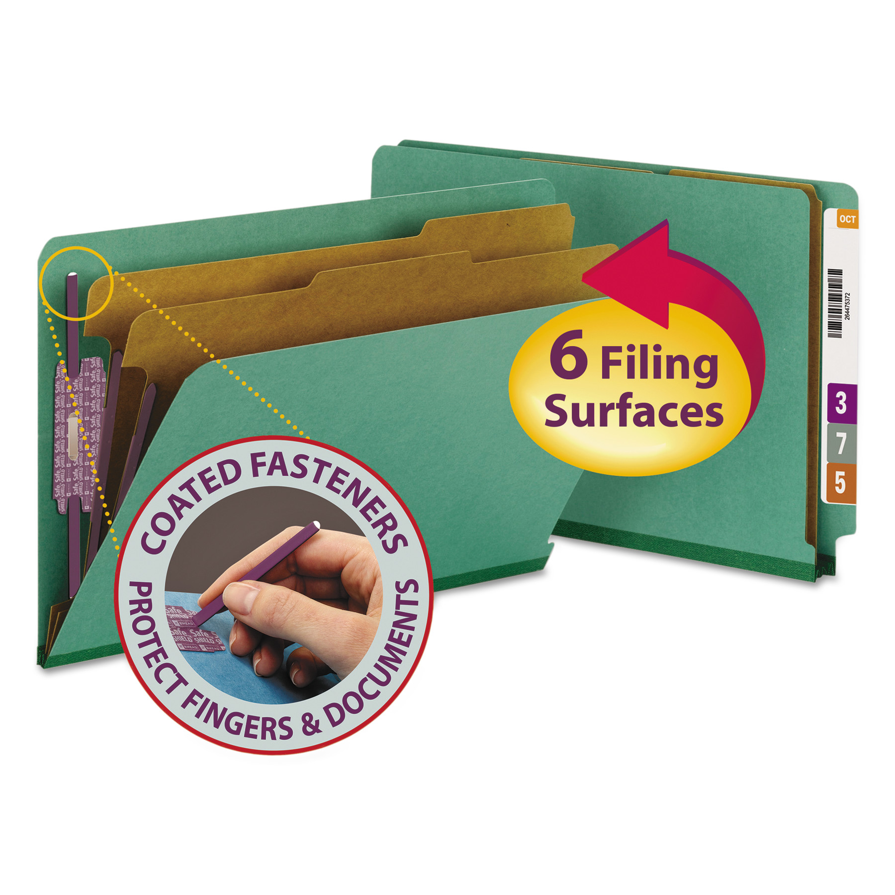 Pressboard End Tab Classification Folders, Legal, Six-Section, Green, 10/Box
