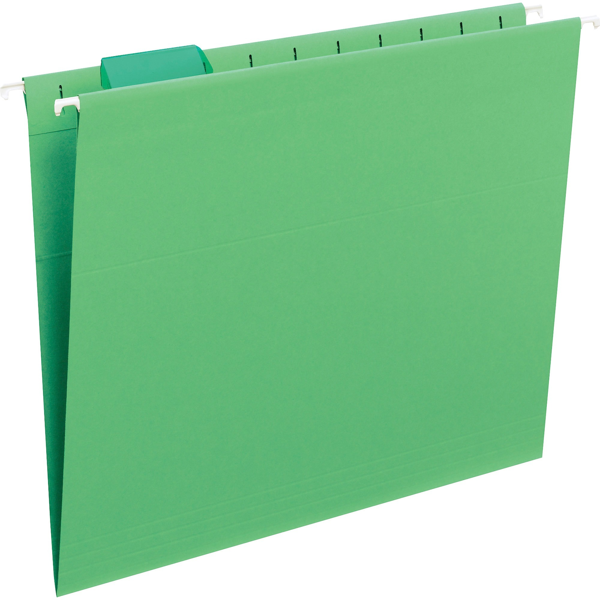 Hanging File Folders, 1/5 Tab, 11 Point Stock, Letter, Bright Green, 25/Box