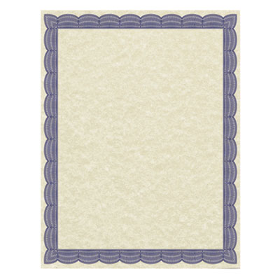 Parchment Certificates, Traditional, 8 1/2 x 11, Ivory, Blue Border, 50/Pack