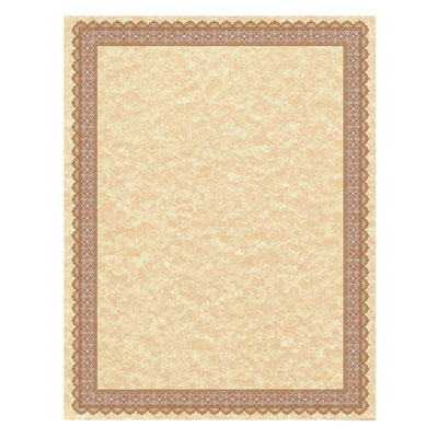 Parchment Certificates, Vintage, 8 1/2 x 11, Copper, Burgundy/Gold Border, 50/PK