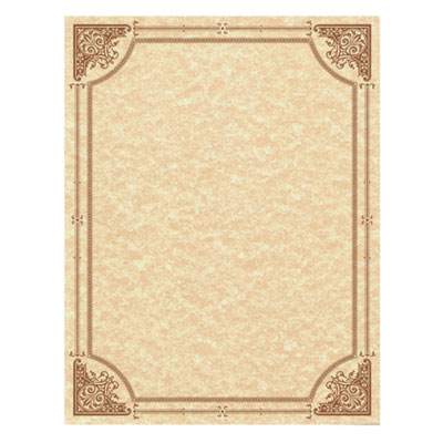 Parchment Certificates, Vintage, 8 1/2 x 11, Copper, Copper Border, 50/Pack