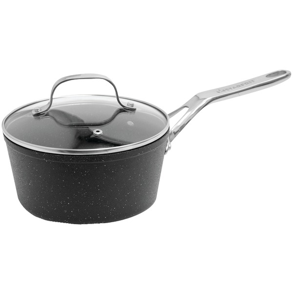 THE ROCK by Starfrit 060315-004-0000 THE ROCK by Starfrit Saucepan with Glass Lid & Stainless Steel Handles (2-Quart)