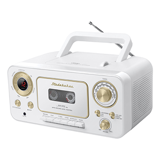 STUDEBAKER SB2135WG WHITE AND GOLD PORTABLE CD PLAYER WITH
