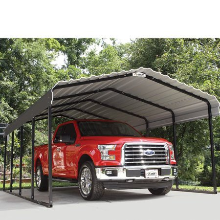 Steel Carport 12 x 29 x 7 ft. Galvanized Black/Charcoal
