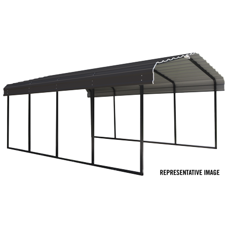 Steel Carport 12 x 24 x 7 ft. Galvanized Black/Charcoal