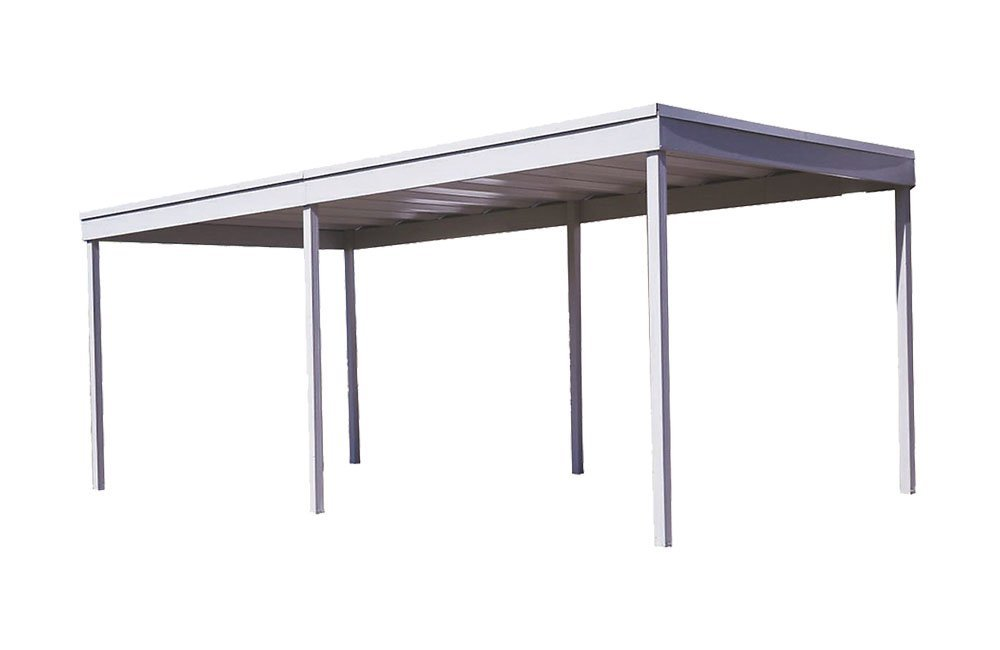 Freestanding Carport/Patio Cover, 10x20, Hot Dipped Galvanized Steel with Vinyl Coating, Eggshell Finish, Flat Roof