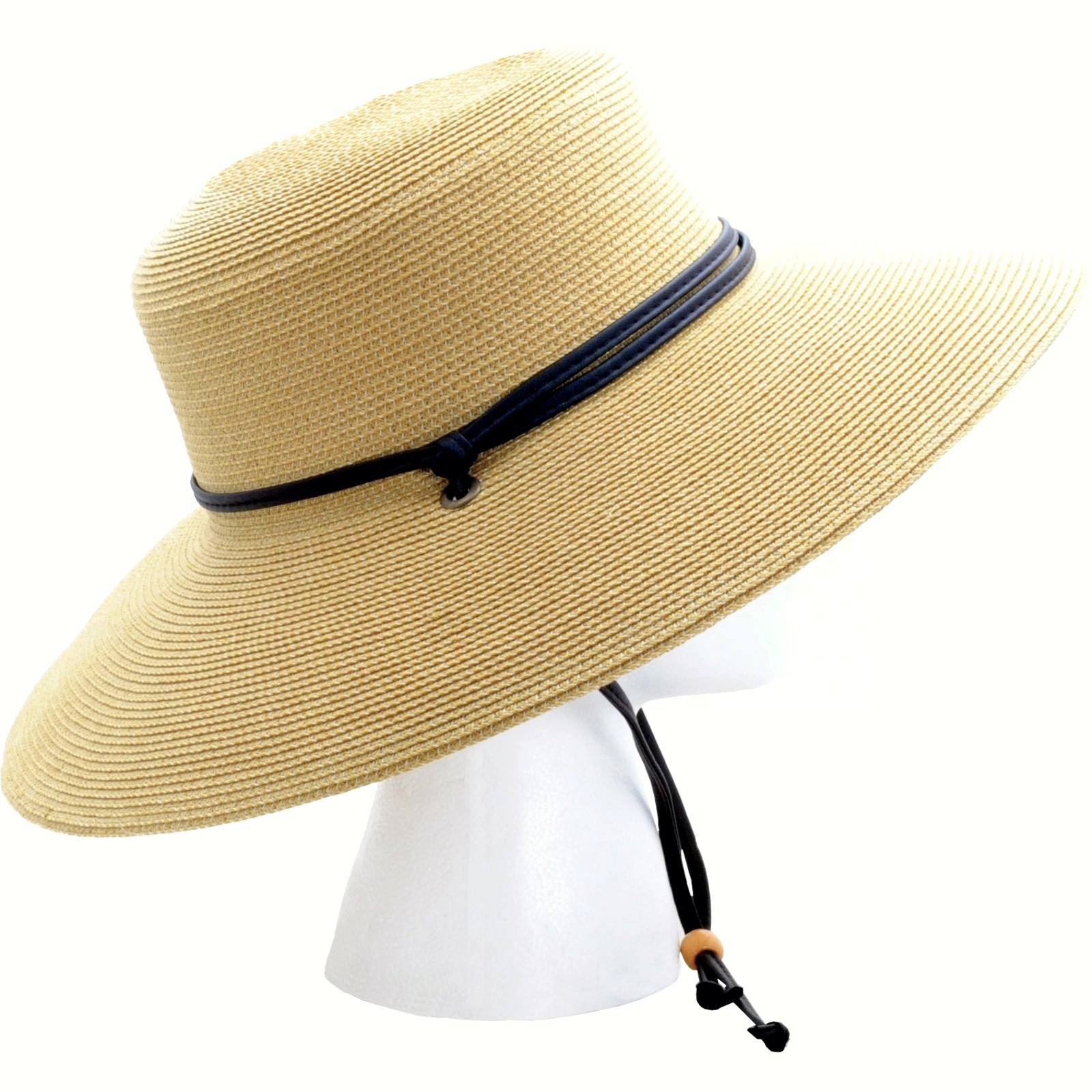 Wide Brim Braided Hat Light Brown