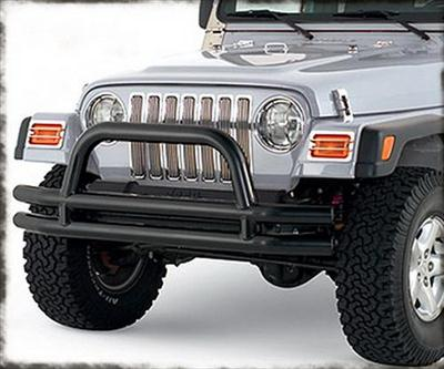 3 Inch Front Tube Bumper with Hoop in Black Powder Coat