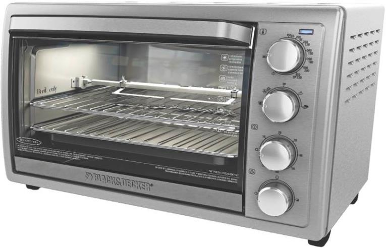 Black+Decker 9-Slice Rotisserie Convection Countertop Oven, Silver