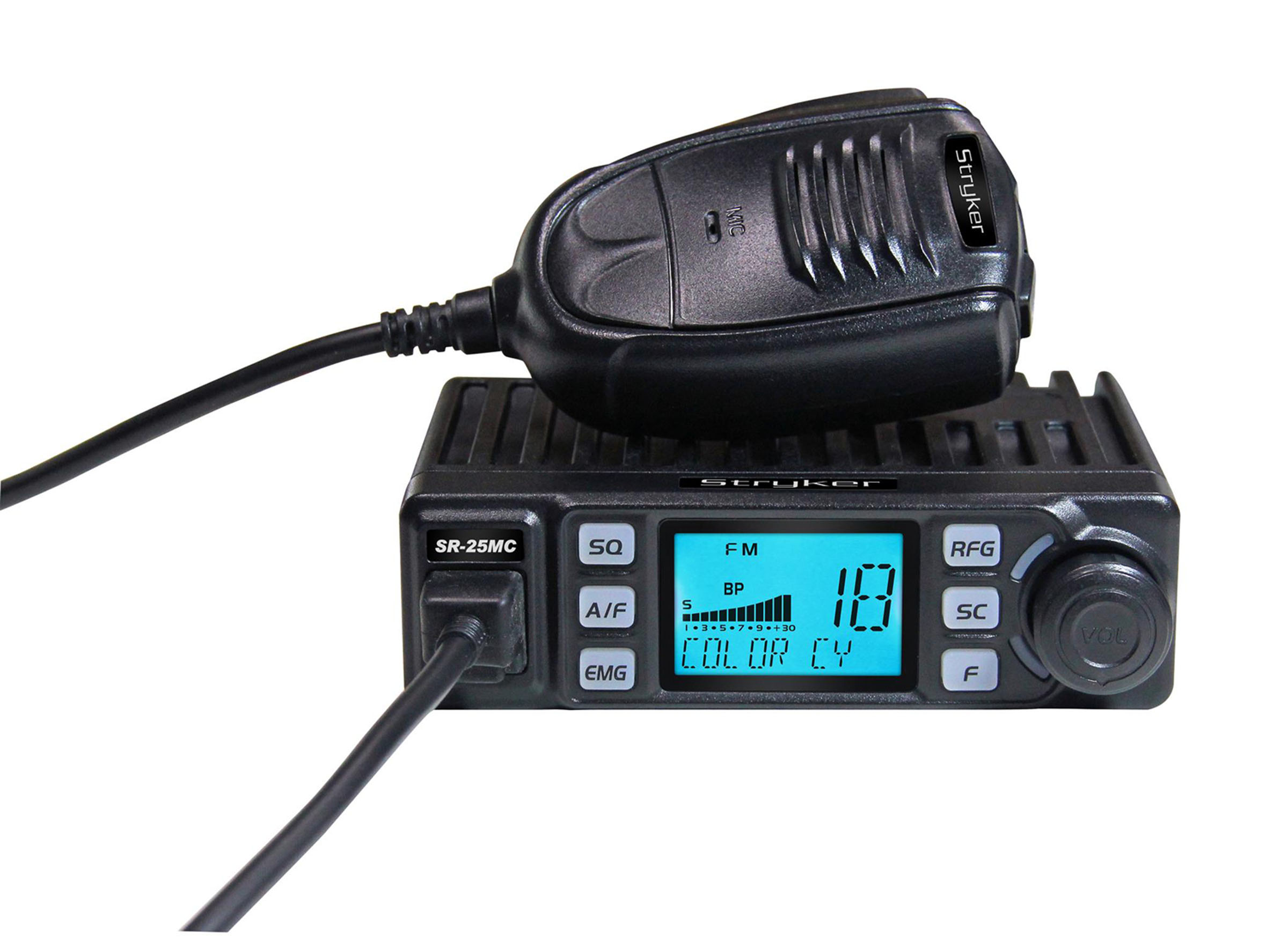 STRYKER - SR25MC COMPACT 20 WATT PEP AM/FM 10 METER AMATEUR RADIO WITH SELECTABLE 7 COLOR LCD DISPLAY & 6 LEVEL DIMMER