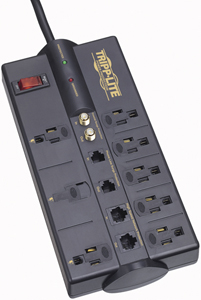 Tripp Lite TLP810NET 8-Outlet Surge Protector (3,240 Joules; 10ft cord; Modem/coaxial/Ethernet protection; $250,000 Ultimate
