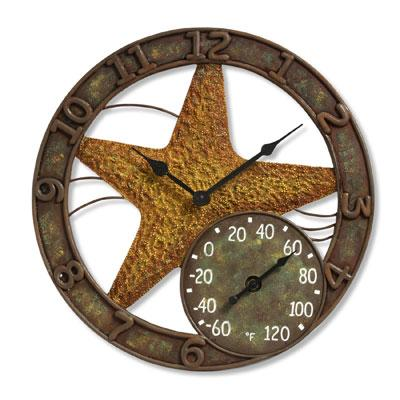 "14"" Starfish Clock with Thermometer"