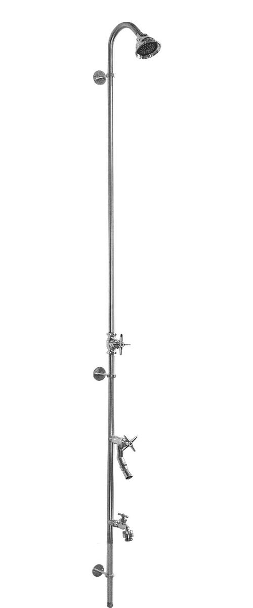 "80"" Wall Mount Cold Water Shower with Cross Handle Valve & Hose Bibb Foot Shower"