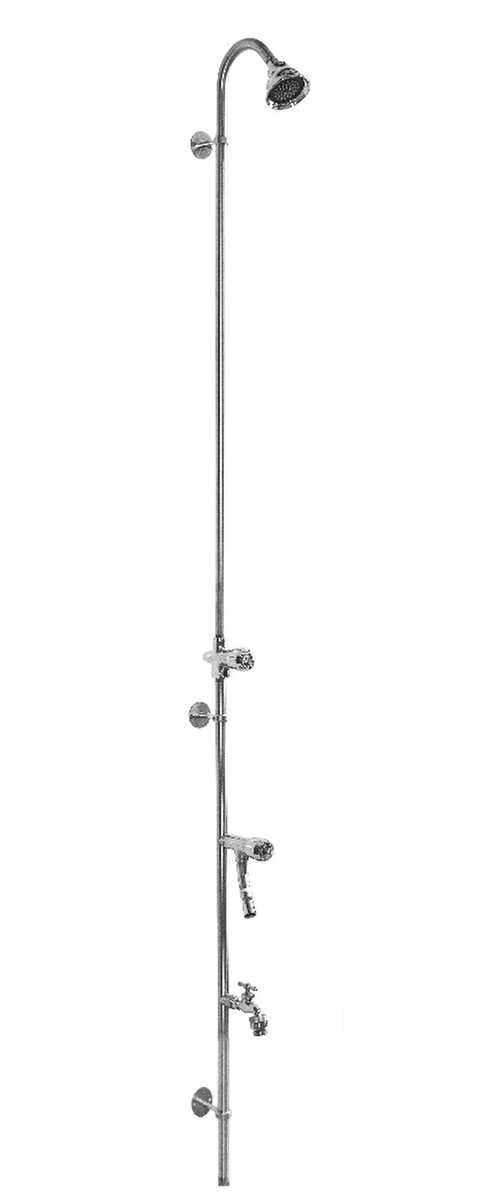 "80"" Wall Mount Cold Water Shower with ADA Compliant Metered Push Valve & Hose Bibb, Foot Shower"