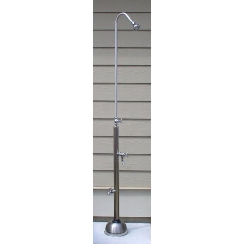 "82"" Free Standing Cold Water Shower with Cross Handle Valve & Hose Bibb, Foot Shower"