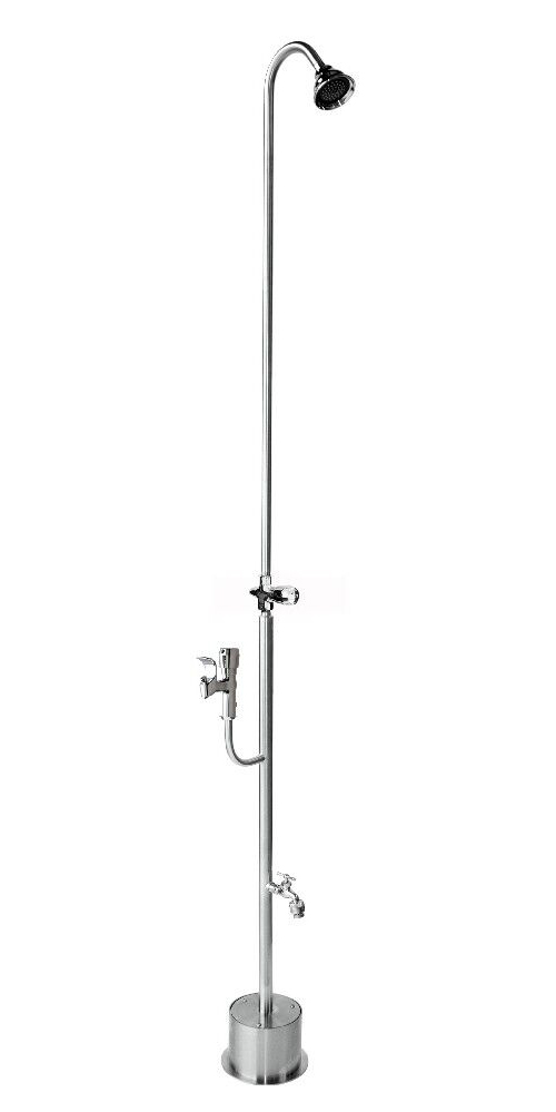 "82"" Free Standing Cold Water Shower with ADA Compliant Metered Push Valve & Hose Bibb, Drinking Fountain"
