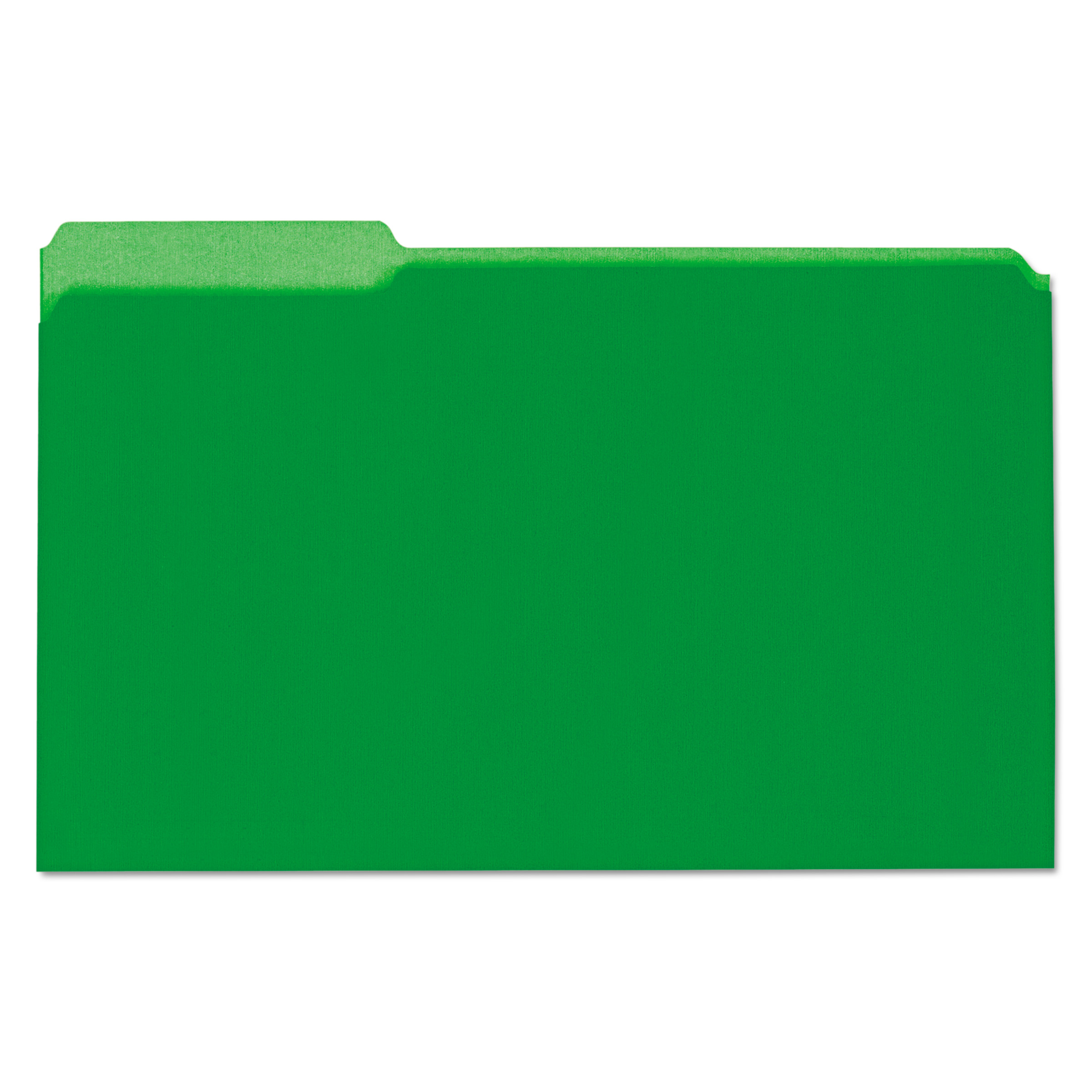 Recycled Interior File Folders, 1/3 Cut Top Tab, Legal, Green, 100/Box