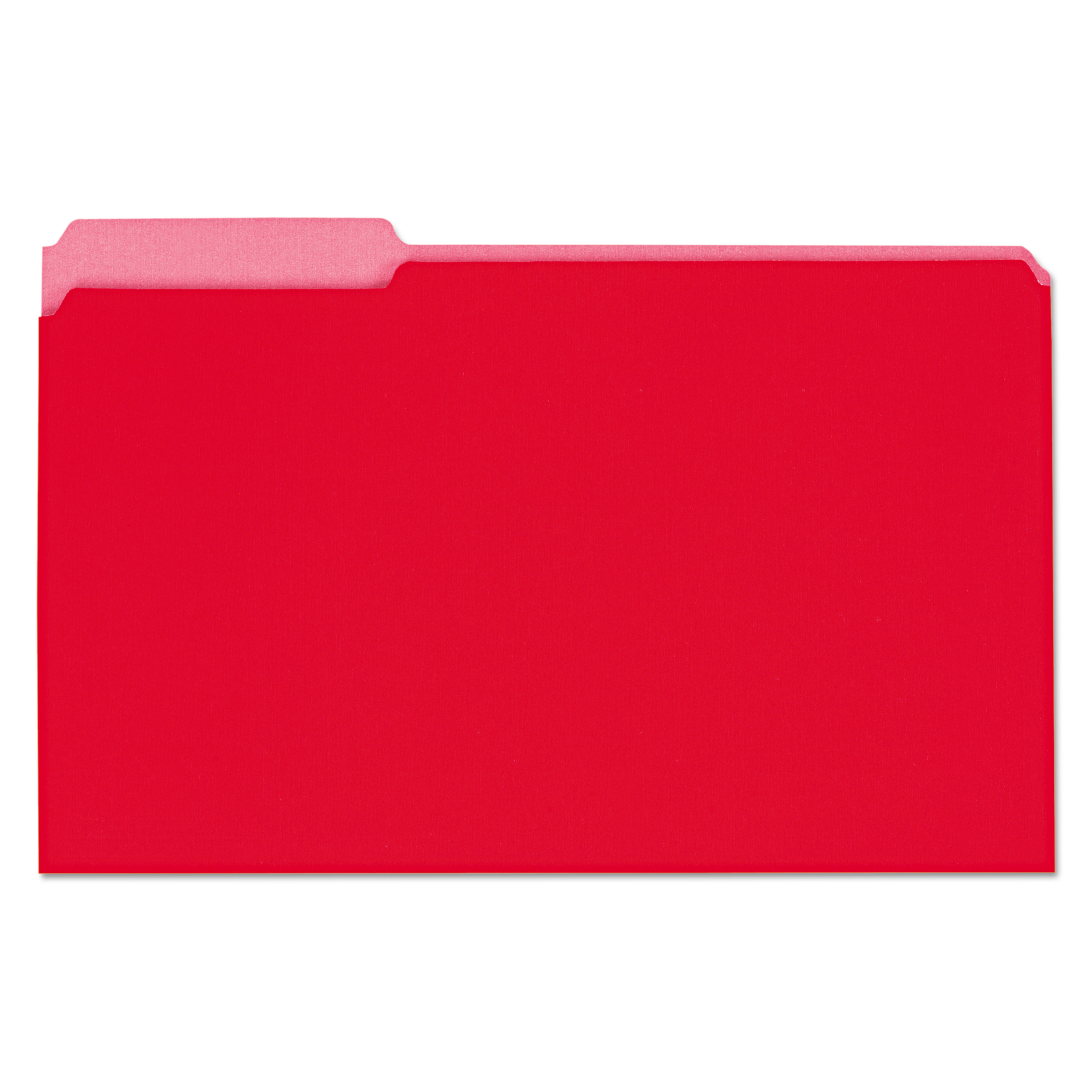 Recycled Interior File Folders, 1/3 Cut Top Tab, Legal, Red, 100/Box