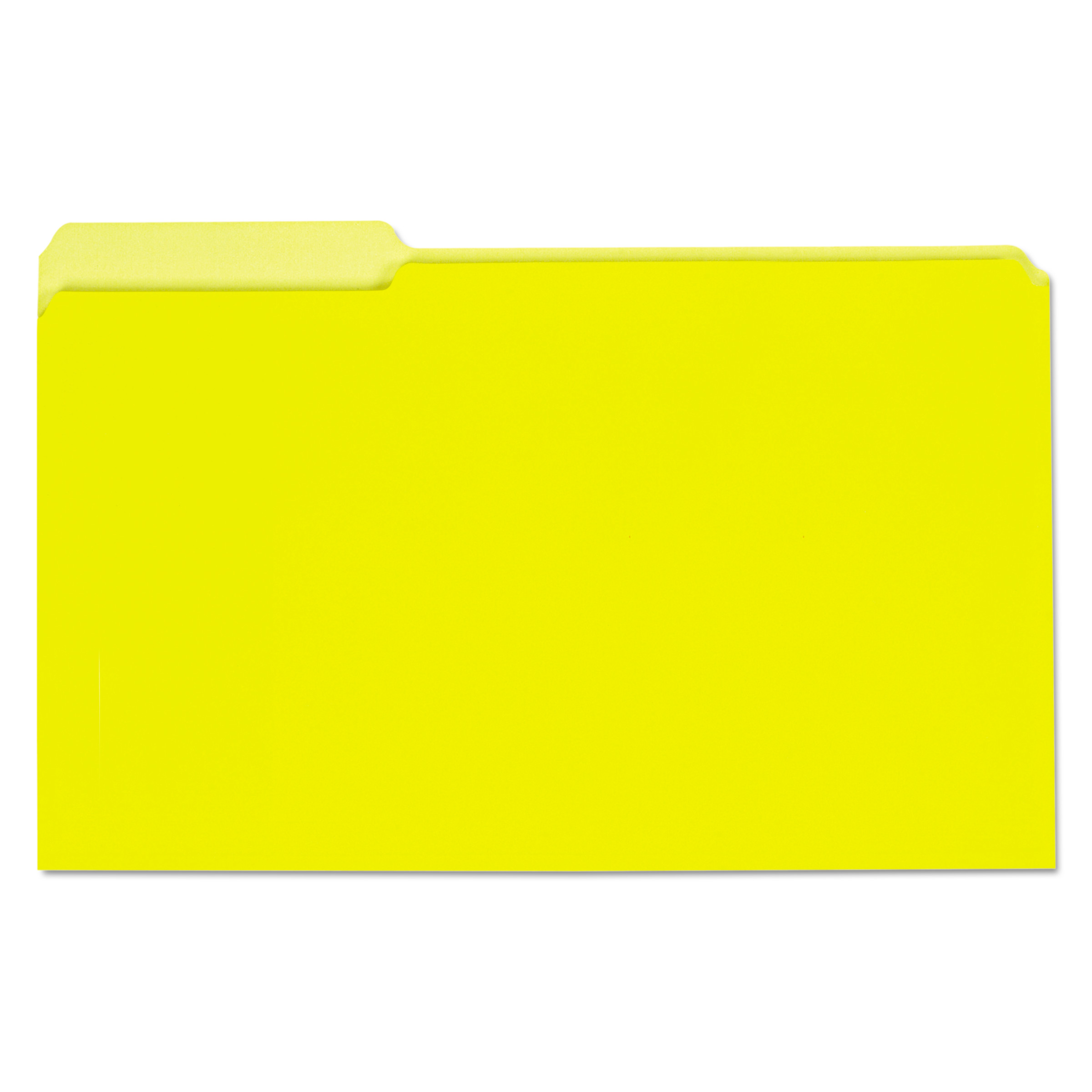 Recycled Interior File Folders, 1/3 Cut Top Tab, Legal, Yellow, 100/Box