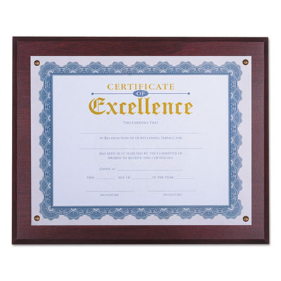 "Award Plaque, 13 1/3"" x 11"", Mahogany"