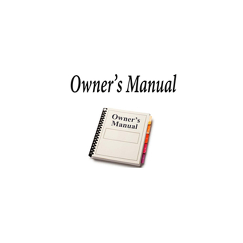OWNERS MANUAL FOR RD3000ZX