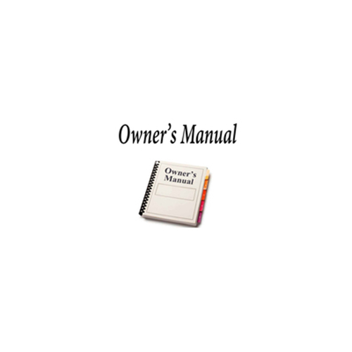 OWNERS MANUAL FOR RD9