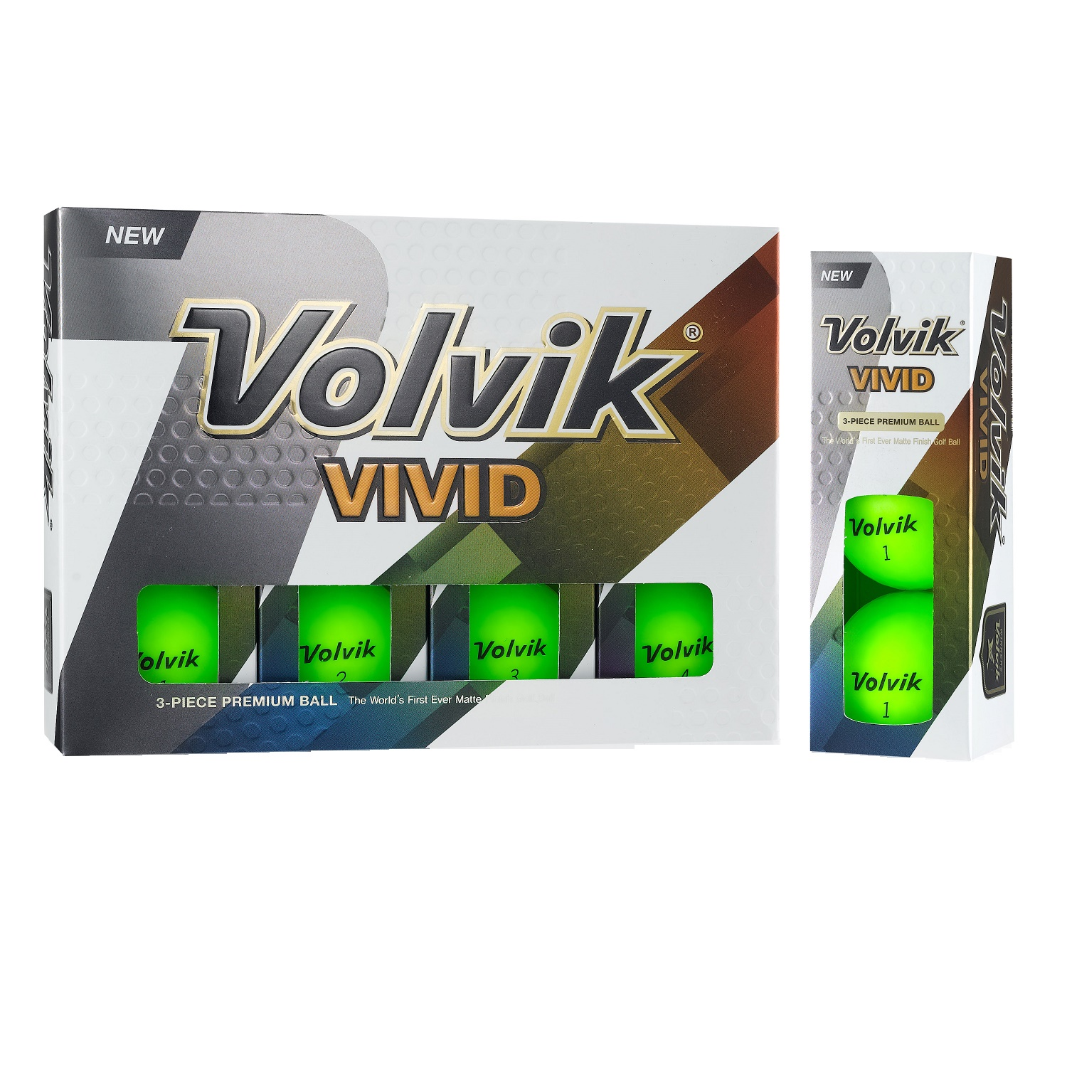 Volvik Vivid 3 Pc Golf Balls - Matte Green