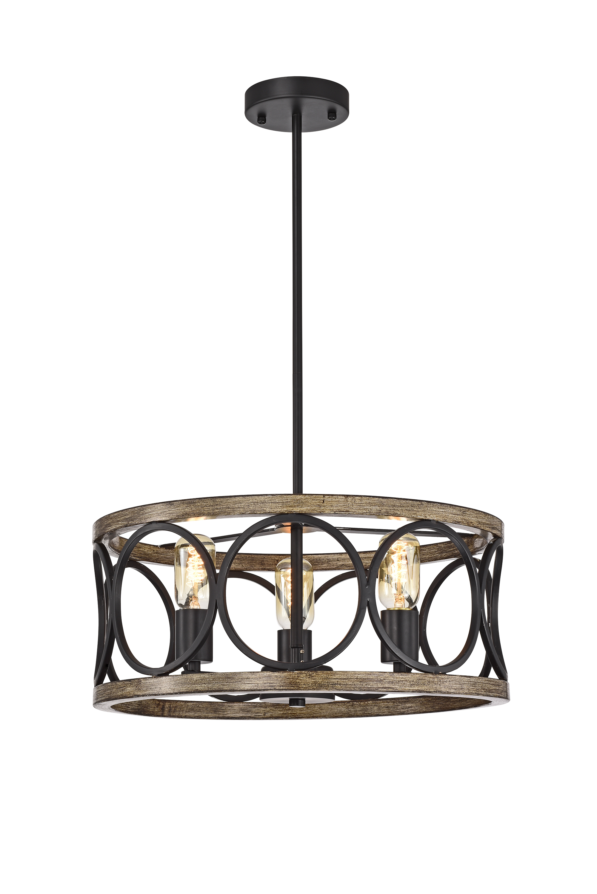 Lassy Matte Black 3-Light Drum Cage Chandelier with Open Metal Hoops Shade
