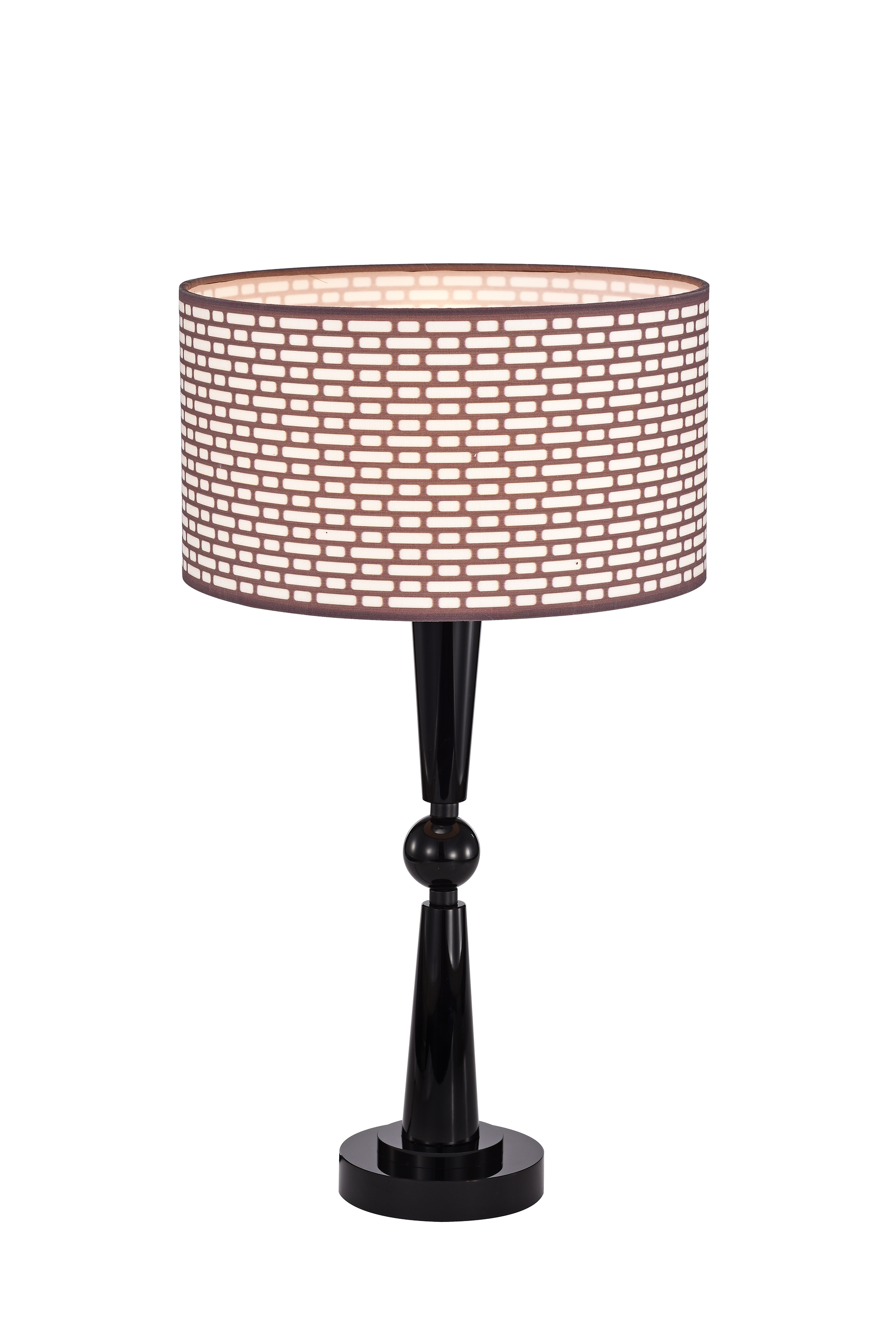 Levine Black+Brown 1-Light Metal/Fabric Drum Shade Table Lamp