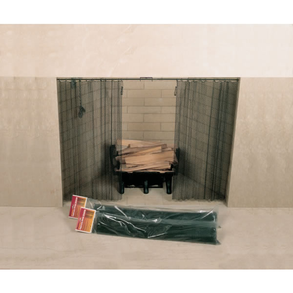 "48"" x 20"" Woodfield Hanging Fireplace Spark Screen, Rod Not Included"