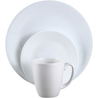 Corelle Vitrelle 6022003 Dinnerware Set, 16 Pieces, Durable Stoneware, Winter Frost White