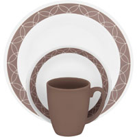 Corelle Vitrelle 1119392 Dinnerware Set, 16 Pieces, Durable Stoneware, Tan