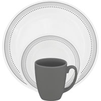 Corelle Vitrelle 1119398 Dinnerware Set, 16 Pieces, Durable Stoneware, Gray