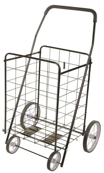MintCraft TPG-G80023L Foldable Shopping Cart, 154 lb, 25 in L x 21-1/2 in W x 40-1/2 in H, Black