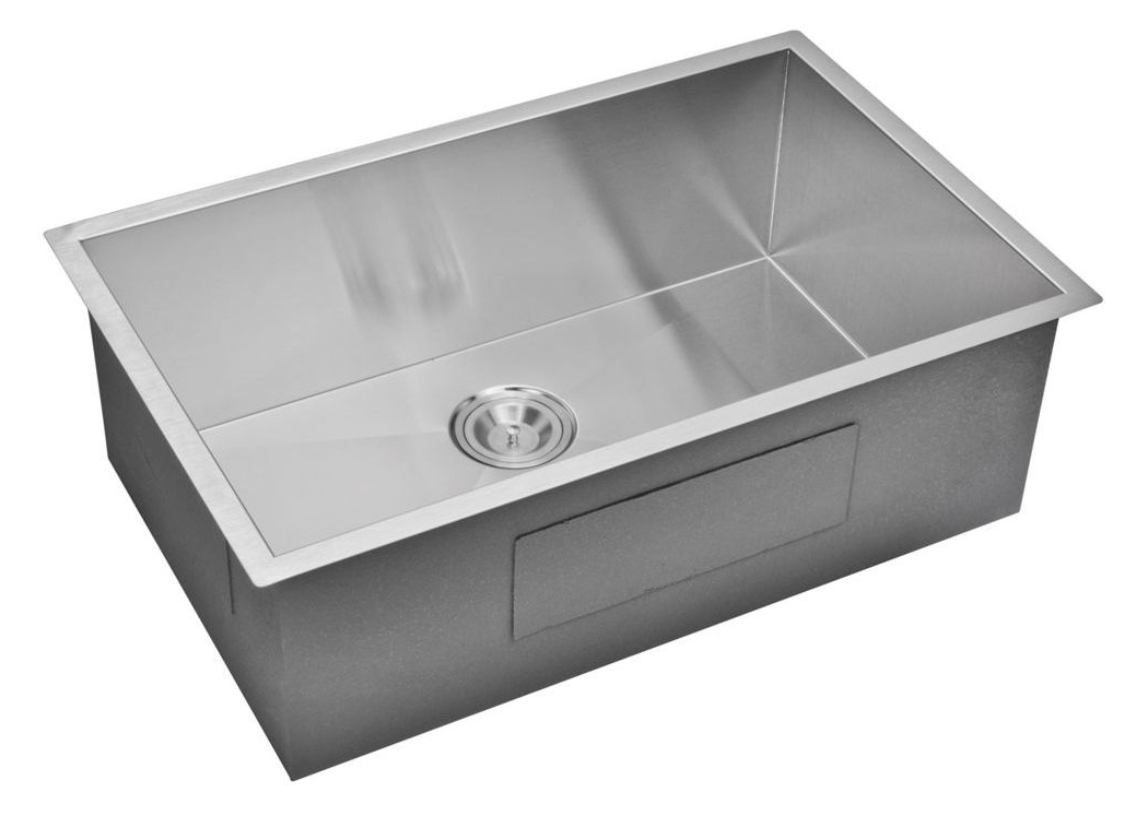 "30"" X 19"" Zero Radius Single Bowl Stainless Steel Hand Made Undermount Kitchen Sink, Premium Scratch"