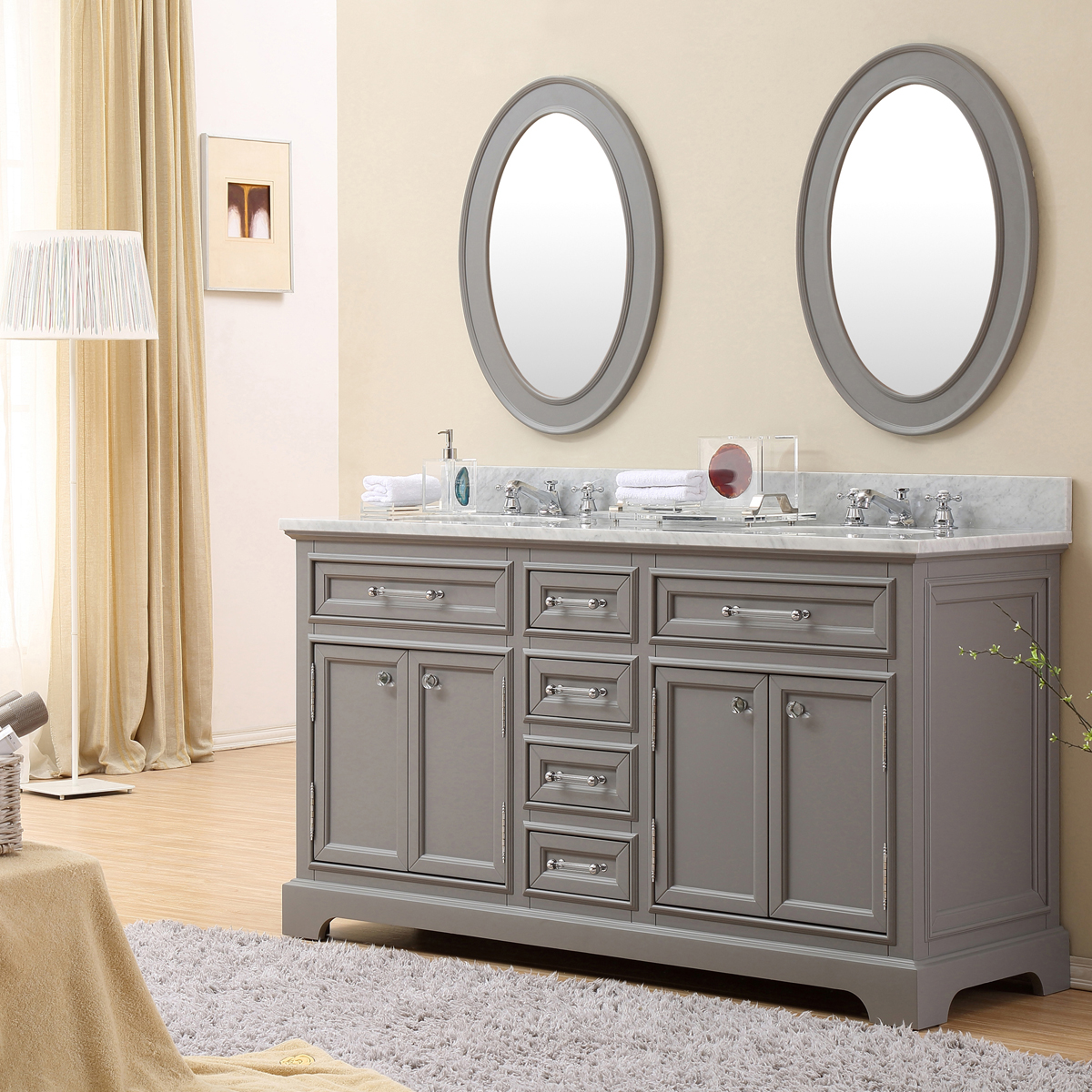 "Water Creation Derby 60GF 60"" Cashmere Grey Double Sink Bathroom Vanity And Faucet"