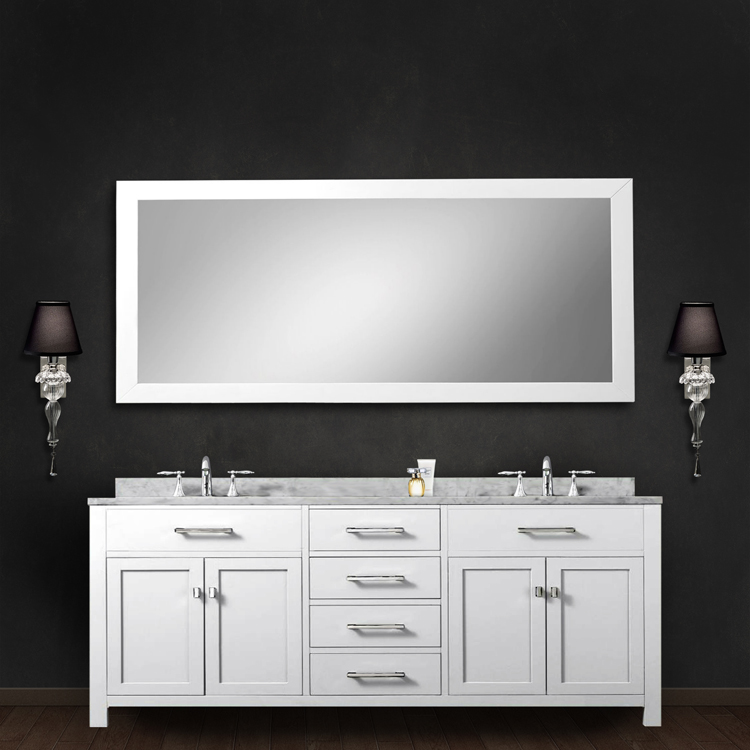 Only Madison 72WB 72 Solid White Double Sink Bathroom Vanity W