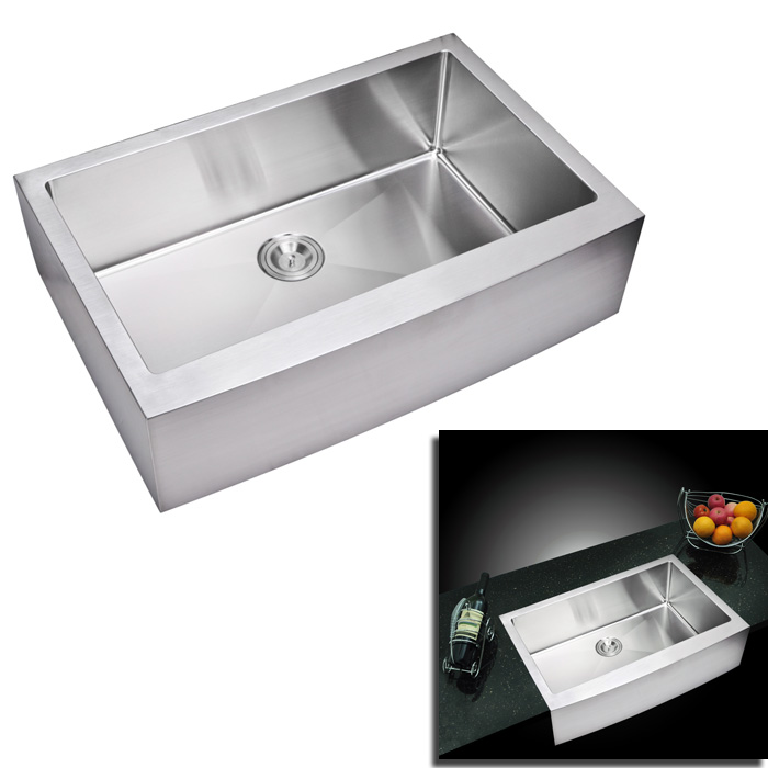 Corner Kitchen Sinks Stainless Steel : ... Single Bowl Stainless Steel Hand Made Apron Front Kitchen Sink, Premiu