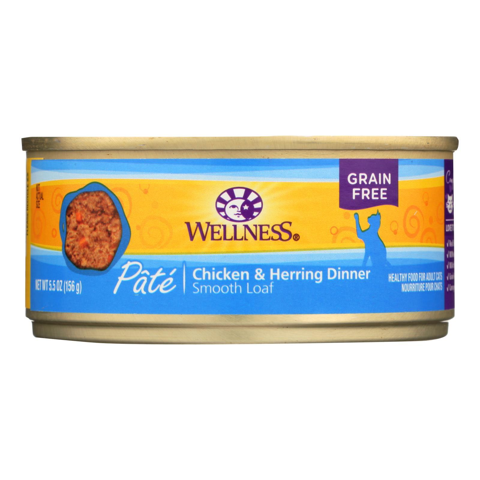 Wellness Canned Chicken & Herring Cat Food (24x55 Oz)