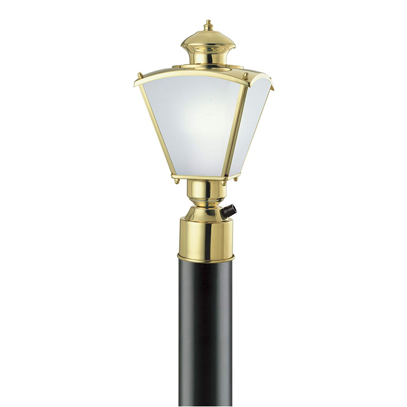 1 Light Post Top Lantern Polished Solid Brass with Frosted Beveled Glass Panels