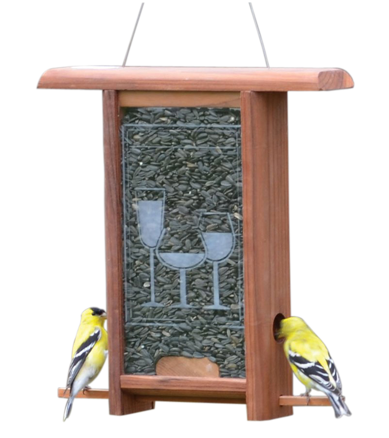 Wine Glass Etched Glass bird feeder