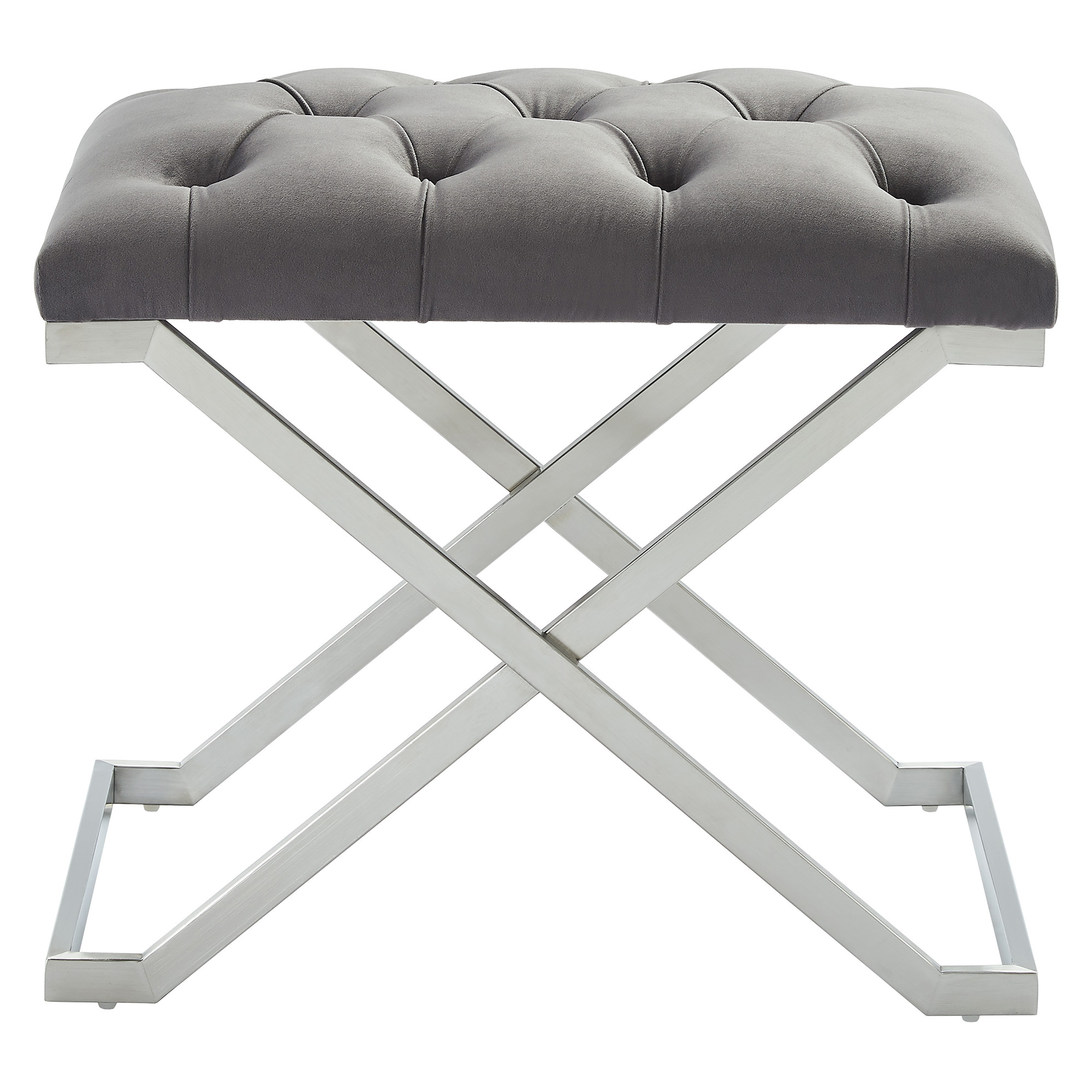 Contemporary Velvet & Stainless Steel Bench in Grey & Silver