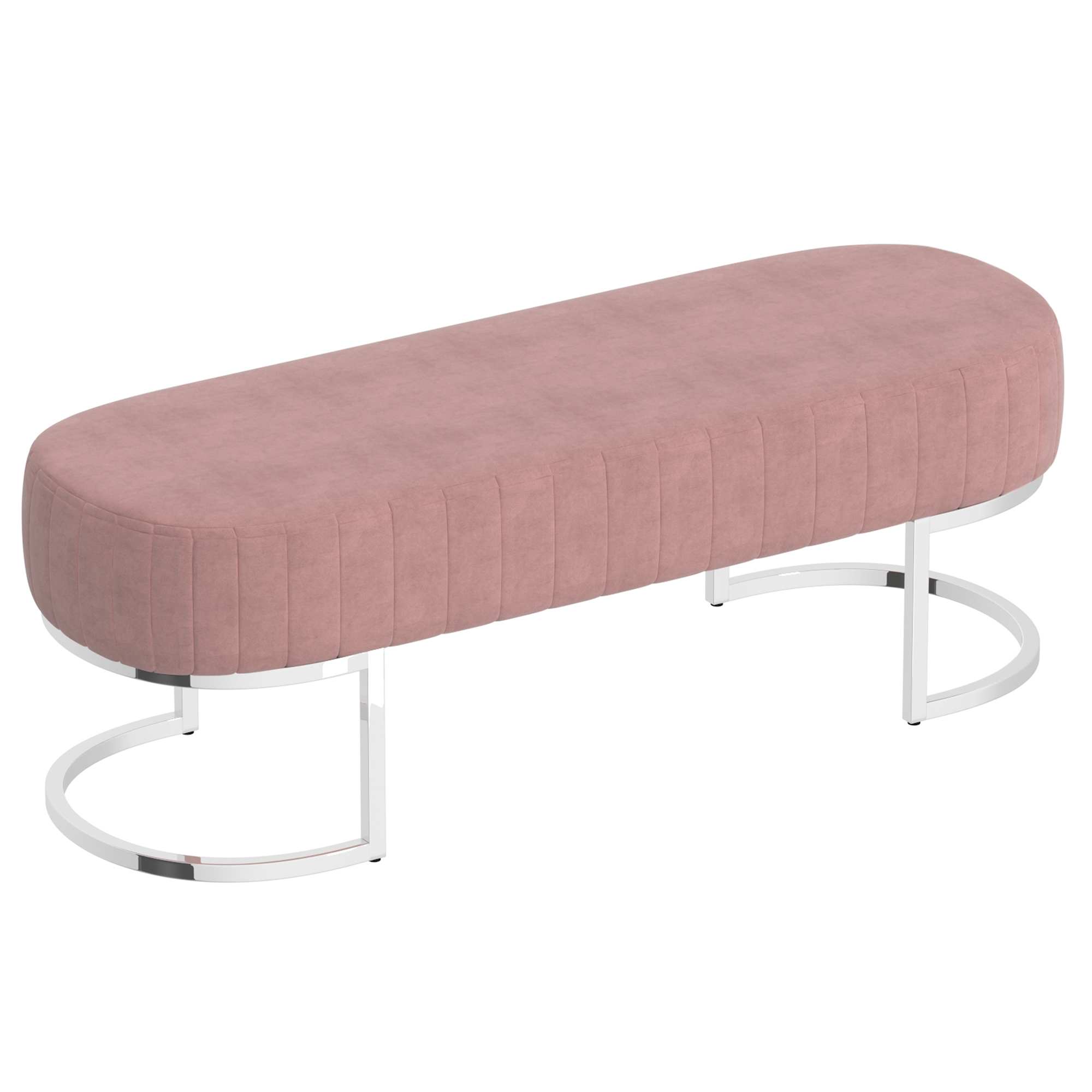 Contemporary Velvet & Metal Bench in Dusty Rose & Silver