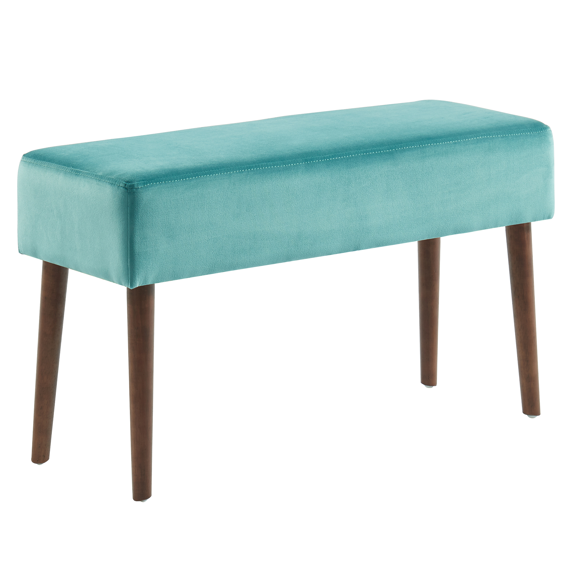 Mid-Century Velvet & Solid Wood Bench in Teal