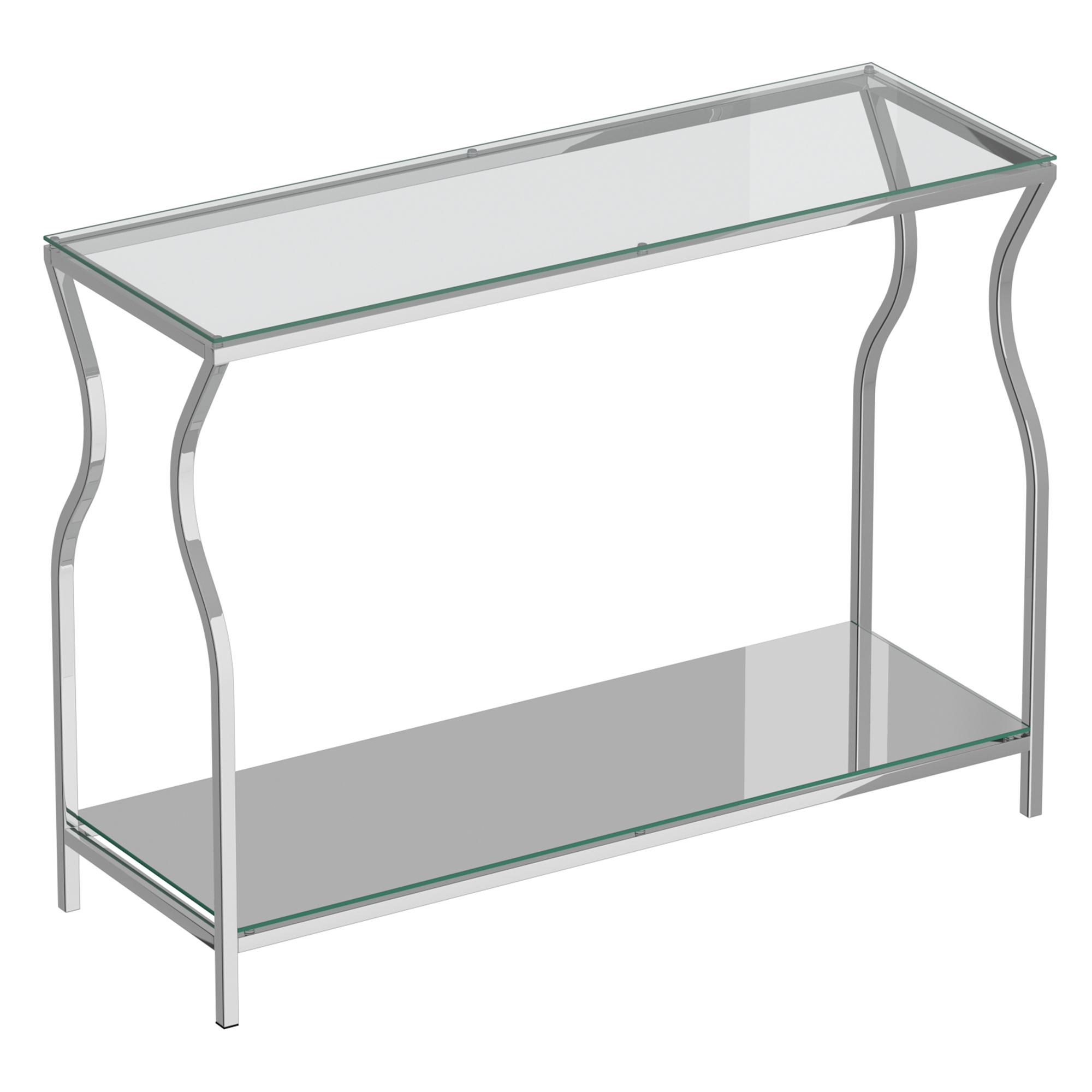 Contemporary Metal & Glass Console Table in Silver