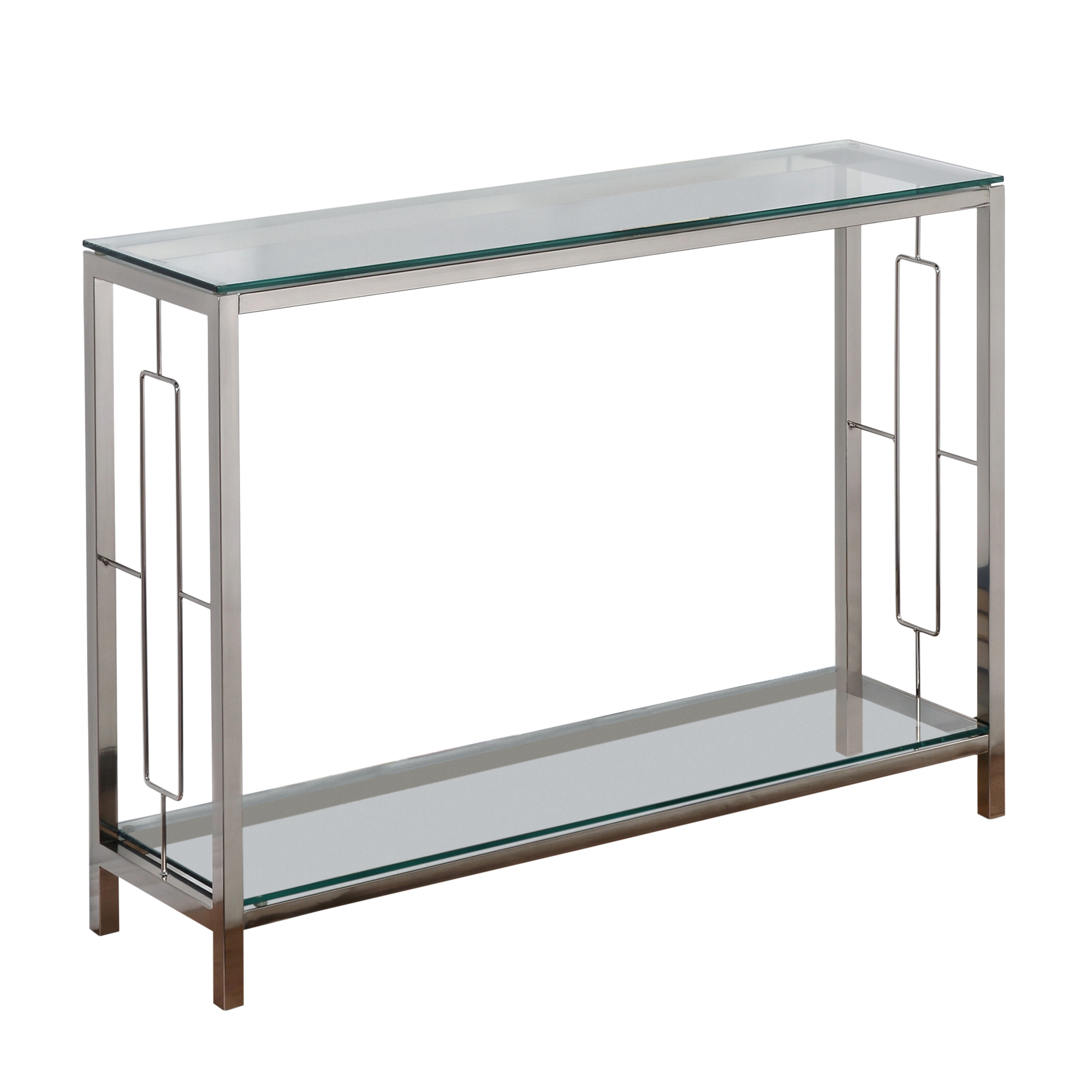 Contemporary Metal & Glass Console Table in Chrome